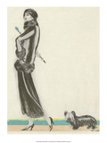 Art Deco Fashion, Award Winning Dog and His Mistress Prints by R.L. Leonard