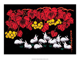 Chinese Folk Art - White Rabbits Posters