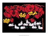 Chinese Folk Art - White Rabbits Posters