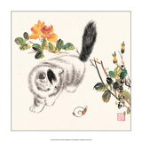 Chinese Cat with Snail Posters