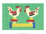 Vintage Russian Matchbox Label, Folk Toy Pecking Chickens Poster