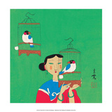Chinese Folk Art - Girl with Birdcages Poster