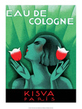 Vintage Art Deco Label, Eau de Cologne, Kaisva, Paris Art