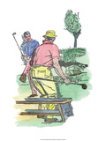 Retro Poster, Two Men Playing Golf Prints
