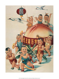 Chinese Happy New Year Babies with Giant Peach Prints