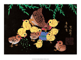 Chinese Folk Art - Mother Chicken with Baby Chicks Prints