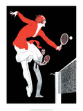 Retro Tennis Poster, Mixed Doubles Match Print