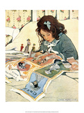 Girl Cutting out Paper Dolls Posters by Jessie Willcox Smith