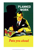 Vintage Business Planned Work Puts You Ahead Prints