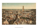 Vintage Postcard, Panorama View of Bruges Posters