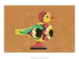 Vintage Russian Matchbox Label, Folk Toy Chicken Prints