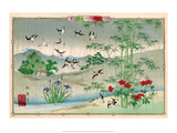Sparrows and Bamboo in the Rain Prints by Rinsai Utsushi