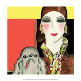 Art Deco Woman with Dog Prints by Helen Dryden