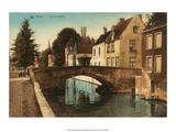 Vintage Postcard, Quai des Marbriers, Bruges Prints