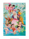 Chinese Happy New Year Babies with Shou Lao (Longevity) Posters
