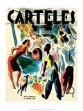 Carteles, Retro Cuban Magazine, Listening to the Radio Poster