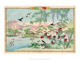 Various Birds and Flowers in a Mountainous Landscape Prints by Rinsai Utsushi