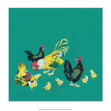 Mid-Century Modern Wallpaper,Rooster,Chickens and Chicks Prints