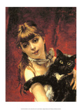Girl with Black Cat, 1885 Prints by Giovanni Boldini