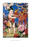 Chinese Happy New Year Baby with Lucky Deer Art