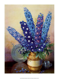 Vintage 1930s Flower Arrangement of Delphiniums Print