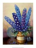 Vintage 1930s Flower Arrangement of Delphiniums Print