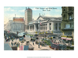 Vintage New York Postcard -Fifth Ave & 42nd Street Prints
