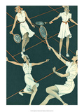 Retro Tennis Poster, Woman's Doubles Match Art