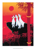 Chinese Folk Art - White Goats Gazing at the Sun Poster