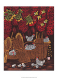 Chinese Folk Art - Chickens in the Woven Baskets Prints