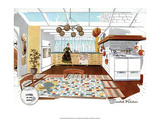 Mid Century Modern Kitchen, Swedish Prints