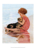 Don't Be Scared, Dog on the Beach Prints by Jessie Willcox Smith