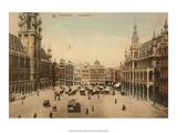 Vintage Postcard, Grand Place, Brussels Print