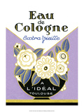 Vintage Art Deco Label, Eau de Cologne 高品質プリント