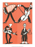 Vintage Russian Matchbox Label, Musicians I Print