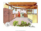 Mid Century Modern Kitchen, South Seas Posters
