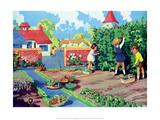 Vintage Classroom Poster - Vegetable Garden Art