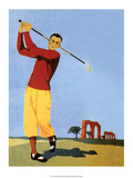 Vintage Golf Poster, Man Teeing Off Posters