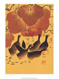 Chinese Folk Art, Brown Ducks in a Pumpkin Field Print