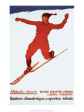 Retro Skiing Poster Prints