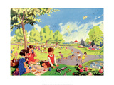 Vintage Classroom Poster - Day in the Park Prints