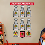 Chicago Blackhawks Stanley Cup Collection Wall Decal