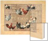 Chickens Burlap Wood Print