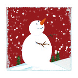 Snowman Red Giclee Print