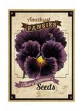 Vintage Pansies Seed Packet Giclee Print
