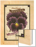 Vintage Pansies Seed Packet Wood Print