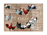 Chickens Burlap Giclee Print