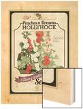Vintage Hollyhock Seed Packet Wood Print