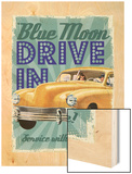 Blue Moon Drive In Wood Print