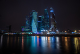 Picturesque Night View of the Moscow City across the River Moscow with Reflection in Water, Photographic Print by  siete_vidas